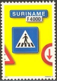Suriname Republiek 1133 Verkeersbord 8e Uitgifte 2001 Postfris
