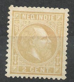 Nederlands Indië   6Fb 12½ × 12  Strogeel 2ct Willem III Ongebruikt (1)