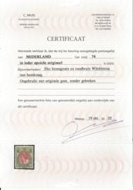 Nvph  74 50 ct  Koningin Wilhelmina Bontkraag Ongebruikt (1) + Certificaat