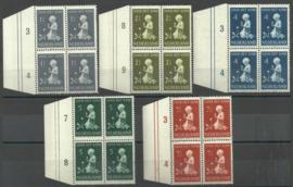Nvph 374/378 Kinderzegels 1940 in Randblokken l. van 4 Postfris