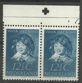 Nvph 304 12½ ct Kinderzegel 1937 Postfris in paar met Pons