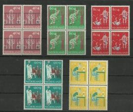 Nvph 731/735 Kinderzegels 1959 in Blokken Postfris