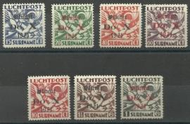 Suriname LP 8/14 Opdruk Vlucht Do.X. Ongebruikt (met en zonder punt)