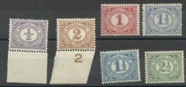 Nvph  50/55 Cijferzegels 1899-1913 Postfris ( 8)