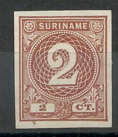 Suriname  14c 2 ct Emissie 1890 (lichtbruin) Johan Enschedé  Ongebruikt (1)