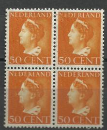 Nvph 344 50 ct Koningin Wilhelmina Postfris in blok * Misdruk *