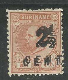 Suriname  21Cf  (dubbele opdruk) 12 ½ × 12 2½ op 50ct Hulpuitgifte Ongebruikt