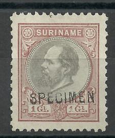 Suriname  14F (11½×11½) 1 Gld Willem III Ongebruikt + Opdruk SPECIMEN