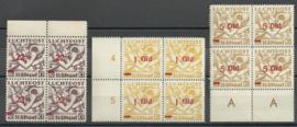 Suriname LP24/26 Luchtpost Uitgifte 1941 in blokken van 4 Postfris