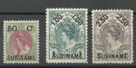 Suriname  34/36 1899 Hulpuitgifte Ongebruikt (3) + 34 PM