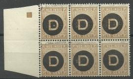 Nederlands Indië Dienst  3 15ct 1892-1897 in blok van 6 Postfris