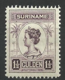 Suriname 102C (11½×11½) 1½ Gld Koningin Wilhelmina Postfris (1)