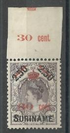 Suriname  64  30 ct op 2½ Gld Hulpuitgifte 1911 Ongebruikt (1)