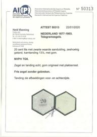 Telegram  6 20ct Ongebruikt (2)  + Certificaat