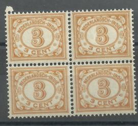 Nederlands Indië 105 3ct bruingeel Cijferzegel 1912/1930 blok van 4 Postfris