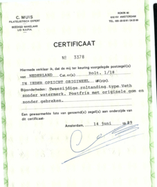 Roltanding  1/18 Tweezijdige Roltanding Postfris (1) + Certificaat