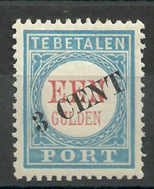 Port  27 3 ct op 1 Gld  1906/1910 Type II Postfris (1)