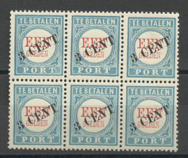 Port  27 1906/1910 Type I + III in blok van 6 Postfris
