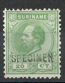 Suriname   9C (12½×12) 20 ct Willem III Ongebruikt + Opdruk SPECIMEN