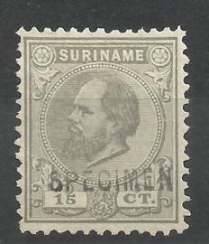 Suriname   8C (12½×12) 15 ct Willem III Ongebruikt + Opdruk SPECIMEN