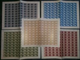 Nvph 877/881 postfris in  vellen van 100 met plaatfouten
