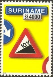 Suriname Republiek 1213 Verkeersbord 14e Uitgifte 2003 Postfris