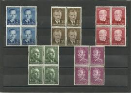 Nvph 641/645 Zomerzegels 1954 in Blokken Postfris