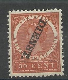 Nederlands Indië Dienst Kopstaand 24f 30ct (1883 / 1902-1909) Ongebruikt