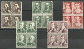 Nvph 392/396 Zomerzegels 1941 Blokken van 4 Postfris