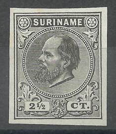 Suriname   1a  zwart 2½ct Berlijnse Kleurproef Ongebruikt (1)
