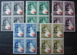 Nvph 661/665 Kankerbestrijding 1955 in Blokken Postfris
