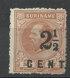 Suriname  21A (14 × 14) kleine gaten 2½ op 50ct Hulpuitgifte Ongebruikt (1)
