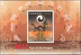 Curaçao Status Aparte  75 Blok Jaar van de Draak 2012 Postfris