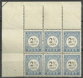 Port  16a 2½ct 1894/1910 Cijfer en Waarde Type III in blok met 2 x  P16b en perforatiefout Postfris + Certificaat