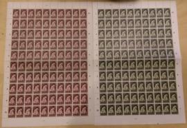 Nvph 736/737 Vluchtelingenzegels in vellen van 100 Postfris + Alle Plaatfouten