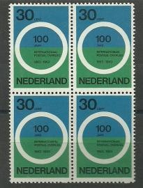 Nvph 791 100 Jaar postaal overleg Blok van 4 Postfris