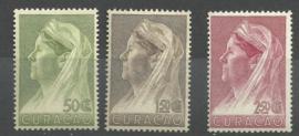 Curacao 135/137 Wilhelmina met Sluier Postfris (2)
