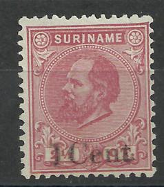 Suriname   3C (12½×12) 2½ ct Willem III Ongebruikt + Opdruk  1 Cent