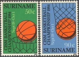 Suriname Republiek 416/417 CISM Basketball Kampioenschappen 1984 Postfris