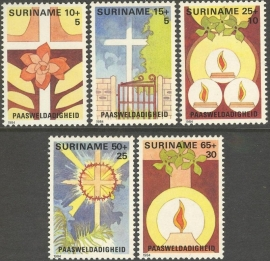 Suriname Republiek 392/396 Paasweldadigheid 1984 Postfris