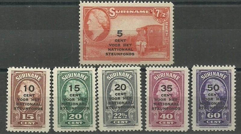 Suriname 214/219 Steunfonds Postfris
