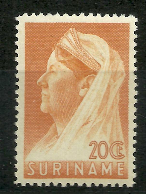 Suriname 170A (12½ × 12½) 20 ct Wilhelmina met Sluier Postfris (1)