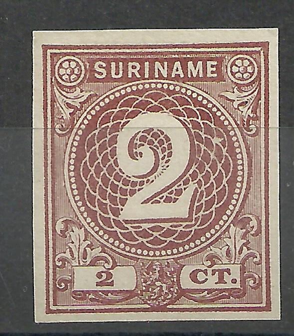 Suriname  14d 2 ct Emissie 1890 (chocoladebruin) Johan Enschedé  Ongebruikt (1)