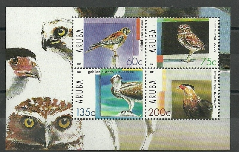 Aruba 347 Blok Roofvogels Postfris