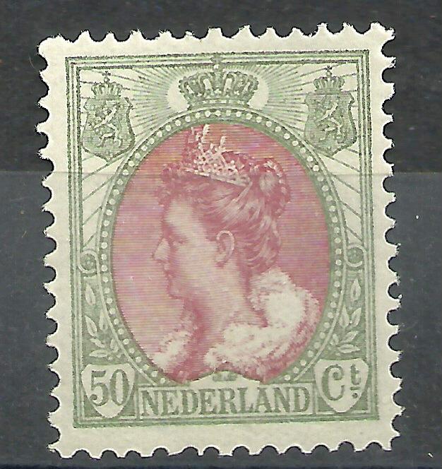 Nvph  74 50 ct  Koningin Wilhelmina Bontkraag Postfris  + Certificaat (1)