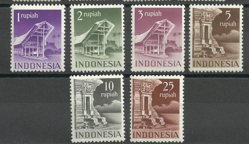 Indonesië 383/388  Gebouwen Postfris (1)
