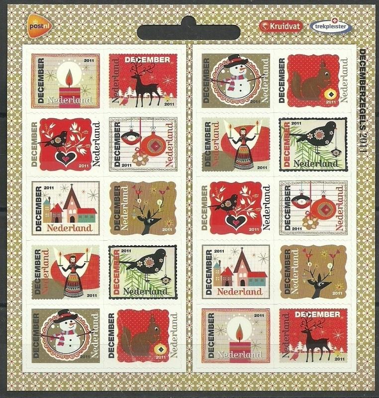 Nvph Vb2887/2896 Kerstvel 2011 Kruidvat + Trekpleister Logo Postfris