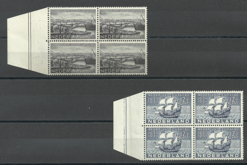 Nvph 267/268 Curaçaozegels in randblokken van 4 Postfris (1)