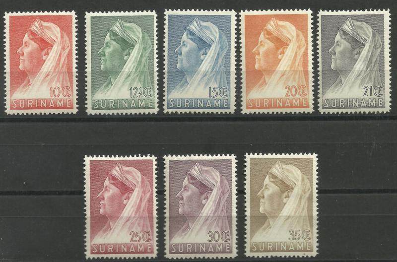 Suriname 167/174 (14 × 14) Wilhelmina met Sluier Postfris (3)