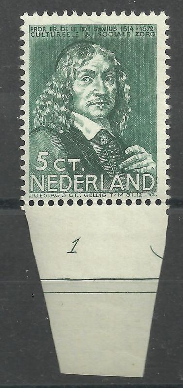 Nvph 297 5 ct Zomerzegel 1937 Postfris met Plaatnummer 1